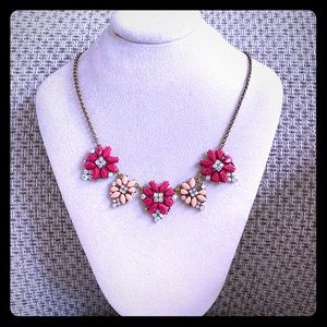 Pink coral rhinestone necklace